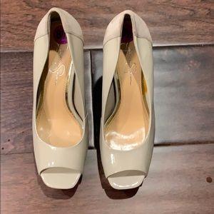 44814c80fb7 Jessica Simpson Size 8.5 Tan patent Suede Heels